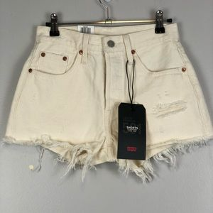 Levi's 501 High Rise Speckled Distressed Shorts